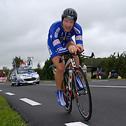 FRANCE, SATURDAY 28th JULY 2007:  Stage 19 Cognac - Angouleme, 55.5 km time trial. Sébastien Rosseler (Quickstep - Innergetic) with approximately 17km to go to the finish.