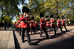 "© Licensed to London News Pictures. 10/10/2018. London, UK. 120 army personnel march down Birdcage Walk, led by the Band of the Grenadier Guards, to a ""welcome home"" reception in the Palace of Westminster, to highlight the breadth of the British Army's current activities. Photo credit : Tom Nicholson/LNP"