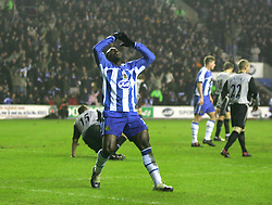 WIGAN, ENGLAND - TUESDAY, JANUARY 31st, 2006: Wigan Athletic's Jason Roberts looks dejected after his goal was disallowed during the Premiership match against Everton at the JJB Stadium. (Pic by David Rawcliffe/Propaganda)