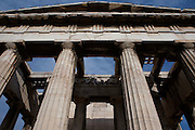 ATHENS, GREECE - APRIL 17 : A view from below of the Temple of Hephaestus, on April 17, 2007, in Athens, Greece. The Temple of Hephaestus was built on the Acropolis, between 449 and 415 BC, in the Doric Order. (Photo by Manuel Cohen)