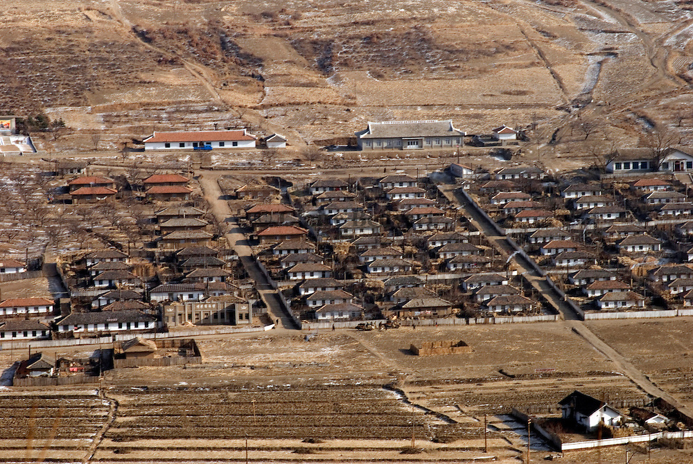 North Korean collective farms near Hoeryong on the border with China. Most of the production will be given to military people staying in the area.