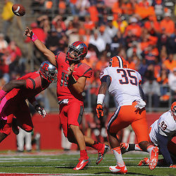 Oct 13, 2012: Rutgers Scarlet Knights quarterback Gary Nova (15) passes for a first down during NCAA Big East college football action between the Rutgers Scarlet Knights and Syracuse Orange at High Point Solutions Stadium in Piscataway, N.J.