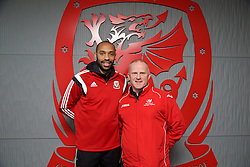 NEWPORT, WALES - Sunday, May 31, 2015: Thierry Henry with Mark Lloyd Williams during the Football Association of Wales' National Coaches Conference 2015 at Dragon Park FAW National Development Centre. (Pic by David Rawcliffe/Propaganda)