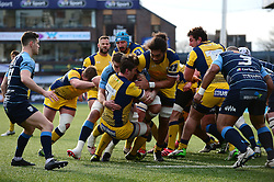 Sam Lewis of Worcester Warriors and Chris Vui push forward - Mandatory by-line: Dougie Allward/JMP - 04/02/2017 - RUGBY - BT Sport Cardiff Arms Park - Cardiff, Wales - Cardiff Blues v Worcester Warriors - Anglo Welsh Cup