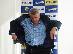 © Licensed to London News Pictures.04/11/2013. London, UK.Michael O'Leary, chief executive officer of Ryanair Holdings Plc arrives to a media briefing on Ryanair's half year results for the period.Photo credit : Peter Kollanyi/LNP