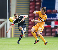 Dundee&rsquo;s Cammy Kerr and Motherwell&rsquo;s Craig Clay - Motherwell v Dundee in the Ladbrokes Scottish Premiership at Fir Park, Motherwell. Photo: David Young<br /> <br />  - &copy; David Young - www.davidyoungphoto.co.uk - email: davidyoungphoto@gmail.com