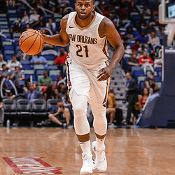 Oct 3, 2017; New Orleans, LA, USA; New Orleans Pelicans forward Darius Miller (21) against the Chicago Bulls during the second half of a NBA preseason game at the Smoothie King Center. The Bulls defeated the Pelicans 113-109. Mandatory Credit: Derick E. Hingle-USA TODAY Sports