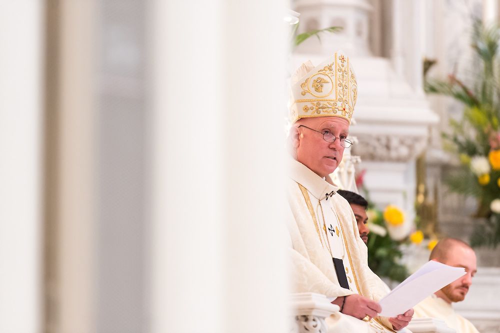DENVER, CO - MAY 16: Denver Archbishop Samuel Aquila delivers a homily during a priest ordination for the Archdiocese of Denver at the Cathedral Basilica of the Immaculate Conception on May 16, 2015, in Denver, Colorado. (Photo by Daniel Petty/Denver Catholic Register)