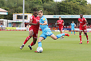 David Sesay and Gavin Reilly   during the EFL Sky Bet League 2 match between Crawley Town and Cheltenham Town at The People's Pension Stadium, Crawley, England on 31 August 2019.
