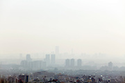 Tokyo outskirts view during a smoggy day from a high rise in the Ebisu district