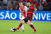 Flamengo midfielder Para (21) and Ajax midefielder Daley Sinkgraven (8) in action during a Florida Cup match at Orlando City Stadium on Jan. 10, 2019 in Orlando, Florida. <br /> Flamengo won in penalties 4-3.<br /> <br /> ©2019 Scott A. Miller