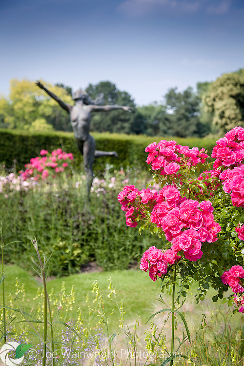 A pretty bronze statue of a wood nymph is located at the centre of the Nesfield Rose Garden, at Rode Hall, Cheshire.