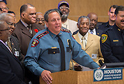 Houston ISD Police Chief Robert Mock comments during a press conference for Project Safe Start, a collaborative program between area ministers, law enforcement and school officials to encourage students to have a safe summer, May 27, 2014.