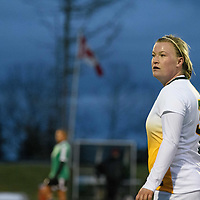 5th year defender Kayla McDonald (3) of the Regina Cougars during the Women's Soccer home game on October 7 at U of R Field. Credit: Arthur Ward/Arthur Images