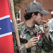 CHARLOTTESVILLE,VA-AUG12: Ben, a 21-year-old KKK member from Harrison, Ark, in Emancipation Park prior to the Unite the Right rally in Charlottesville,Virginia, August 12, 2017.(Photo by Evelyn Hockstein/For The Washington Post)