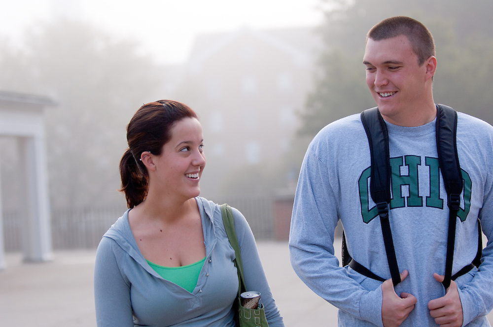 18460Campus morning Fall 2007...Alissa Trucco and Ross Humes