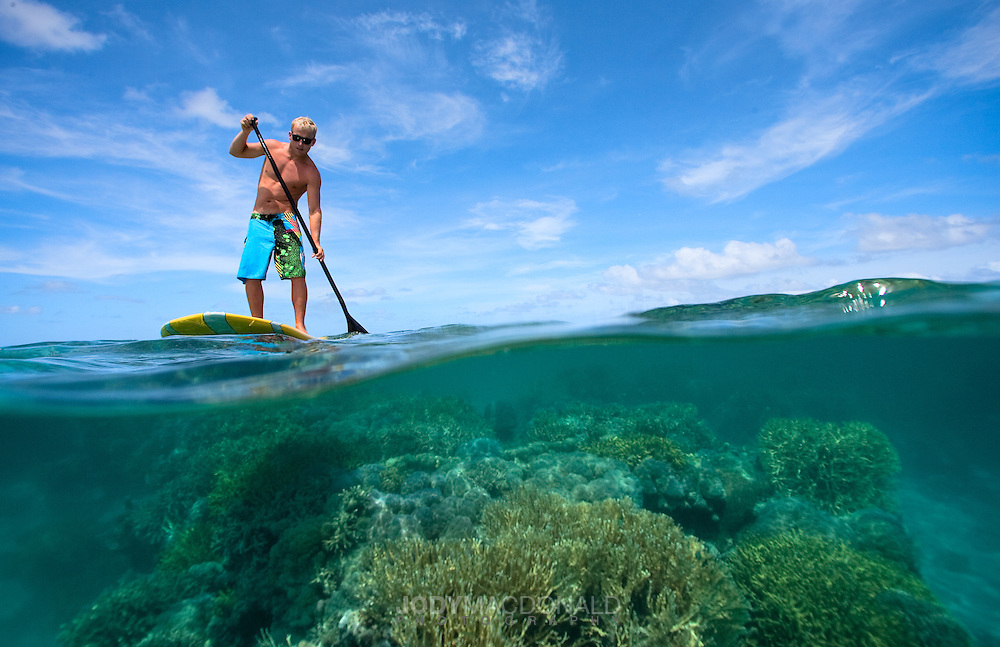 Cameron Dietrich paddles a stand up paddleboard (SUP) over pristine colorful coral on the inner lagoon of Pohnpei, Micronesia