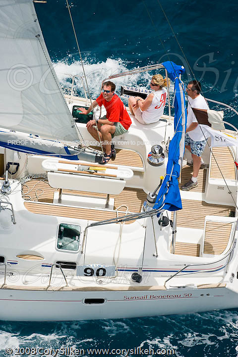 Aigue Marine, a Sunsail Beneteau 50, racing in the Bareboat Class at Antigua Sailing Week.