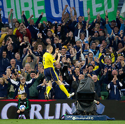 DUBLIN, REPUBLIC OF IRELAND - Wednesday, May 25, 2011: Scotland's captain Kenny Miller celebrates scoring the second goal against Wales during the Carling Nations Cup match at the Aviva Stadium (Lansdowne Road). (Photo by David Rawcliffe/Propaganda)