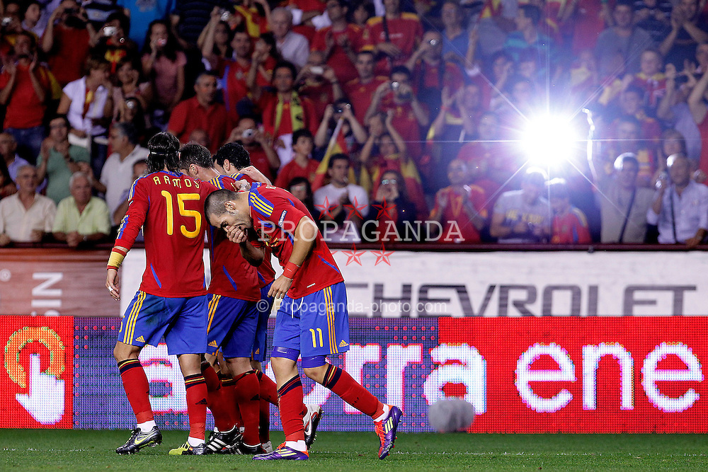 06.09.2011, Logrono, ESP, UEFA EURO 2012, Qualifikation, Spanien vs Lichtenstein, im Bild Spain's Sergio Ramos, Xabi Alonso, Sergio Busquets and Alvaro Negredo celebrate goal during Euro 2012 qualifier match.September 6,2011.. EXPA Pictures © 2011, PhotoCredit: EXPA/ Alterphoto/ Acero +++++ ATTENTION - OUT OF SPAIN/(ESP) +++++