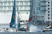 Oman Air and BAR, day two of the Cardiff Extreme Sailing Series Regatta. 23/8/2014