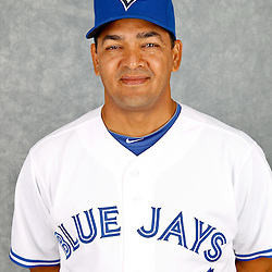 March 2, 2012; Dunedin, FL, USA; Toronto Blue Jays coach Luis Rivera (63) poses for a portrait during photo day at Florida Auto Exchange Stadium.  Mandatory Credit: Derick E. Hingle-US PRESSWIRE