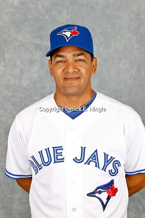 March 2, 2012; Dunedin, FL, USA; Toronto Blue Jays coach Luis Rivera (63) poses for a portrait during photo day at Florida Auto Exchange Stadium.  Mandatory Credit: Derick E. Hingle-US PRESSWIRE