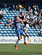 Dundee&rsquo;s Mark O&rsquo;Hara oujumps Kilmarnock&rsquo;s Kristoffer Ajer - Kilmarnock v Dundee in the Ladbrokes Scottish Premiership at Rugby Park, Kilmarnock, Photo: David Young<br /> <br />  - &copy; David Young - www.davidyoungphoto.co.uk - email: davidyoungphoto@gmail.com