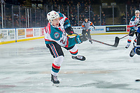 KELOWNA, CANADA - JANUARY 25:  Lassi Thomson #2 of the Kelowna Rockets takes a shot on net against the Victoria Royals on January 25, 2019 at Prospera Place in Kelowna, British Columbia, Canada.  (Photo by Marissa Baecker/Shoot the Breeze)