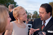 Homecoming 2008: Alumni Awards Gala 9/26/2008.....Medal of Merit:.Jeanne M & Sedat I. Goken talk with Brooke Hallowell