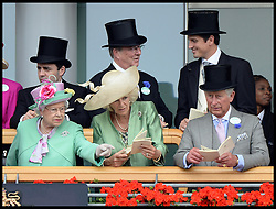 HM The Queen, The Duchess of Cornwall and Prince Charles look over the parade ring from the royal box at Royal Ascot 2013<br /> Ascot, United Kingdom<br /> Wednesday, 19th June 2013<br /> Picture by Andrew Parsons / i-Images
