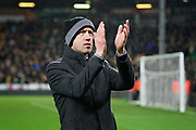 Swansea City manager Graham Potter claps the fans after the EFL Sky Bet Championship match between Norwich City and Swansea City at Carrow Road, Norwich, England on 8 March 2019.