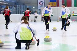 Ana Smolej and Nika Svetina of Slovenia during European Curling Championship C-division between national team of Slovenia and Lithuania on April 29, 2016 in Ledena dvorana Zalog, Ljubljana, Slovenia. Photo By Urban Urbanc / Sportida