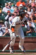 San Francisco Giants shortstop Brandon Crawford (35) makes contact with a pitch against the San Diego Padres at AT&T Park in San Francisco, Calif., on September 14, 2016. (Stan Olszewski/Special to S.F. Examiner)