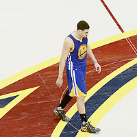 10 June 2016: Golden State Warriors guard Klay Thompson (11) is seen during the Golden State Warriors 108-97 victory over the Cleveland Cavaliers, during Game Four of the 2016 NBA Finals at the Quicken Loans Arena, Cleveland, Ohio, USA.