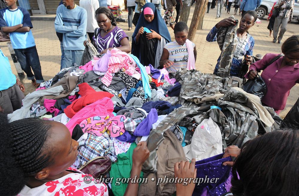 "NAIROBI, KENYA.  Women shop for garments in the Eastleigh neighborhood of Nairobi, Kenya on Thursday, December 1, 2011. Eastleigh is the main commercial center for Somali ex-pats, and is traditionally known as ""Little Mogadishu.""  © Chet Gordon/THE IMAGE WORKS"