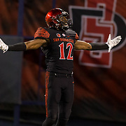 21 October 2016: The San Diego State Aztecs football team takes on the San Jose State Spartans Friday night at Qualcomm Stadium. San Diego State safety Malik Smith (12) after breaking up a pass in the end zone in the fourth quarter. The Aztecs beat the Spartans 42-3 to extend there home win streak. www.sdsuaztecphotos.com