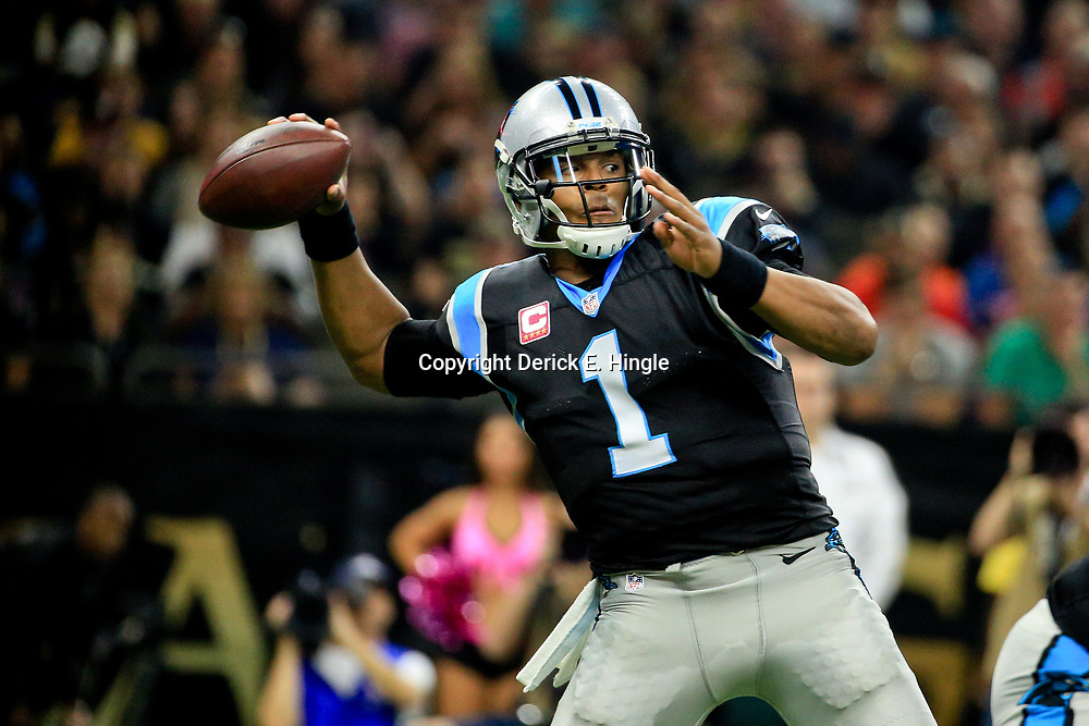 Oct 16, 2016; New Orleans, LA, USA; Carolina Panthers quarterback Cam Newton (1) throws against the New Orleans Saints during the first quarter of a game at the Mercedes-Benz Superdome. Mandatory Credit: Derick E. Hingle-USA TODAY Sports