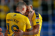 Goal Oxford United defender Curtis Nelson (5) celebrates during the EFL Sky Bet League 1 match between Oxford United and Plymouth Argyle at the Kassam Stadium, Oxford, England on 13 October 2018.