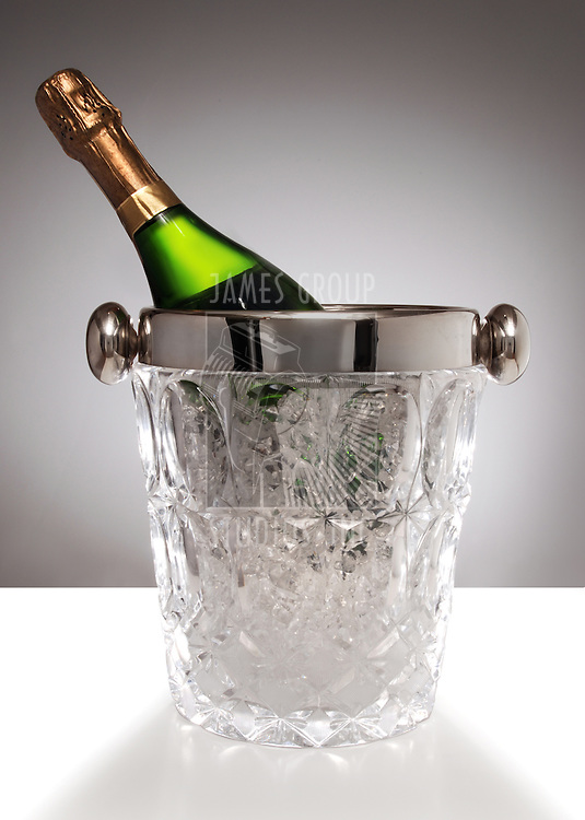 champagne bottle in crystal champagne bucket