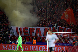 "MOSCOW, RUSSIA - Tuesday, September 26, 2017: FC Spartak Moscow supporters' banner ""UEFA Mafia"" during the UEFA Champions League Group E match between Spartak Moscow and Liverpool at the Otkrytie Arena. (Pic by David Rawcliffe/Propaganda)"