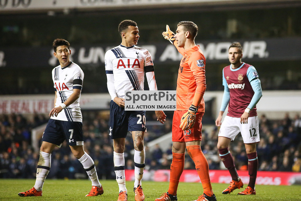 Dele Alli and Adrian argueDuring Tottenham Hotspur vs West Ham United on Sunday the 22nd November 2015.