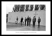 President John F. Kennedy laying a wreath on the graves of the Leaders of the 1916 Rising at Arbour Hill in Dublin.<br />