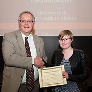 18.05.2016<br /> Limerick Institute of Technology (LIT) hosted a celebration of community and voluntary engagement in the LIT Millennium Theatre for the GO4IT & Give Graduation ceremony.<br /> <br /> Acting President LIT, Terry Toomey presented a Give certificate to Olivia Shanahan. Picture: Alan Place/Fusionshooters
