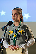 Anna Little spells a word the Southeastern Ohio Regional Spelling Bee Saturday, March 16, 2013. The Regional Spelling Bee was sponsored by Ohio University's Scripps College of Communication and held in Margaret M. Walter Hall on OU's main campus.