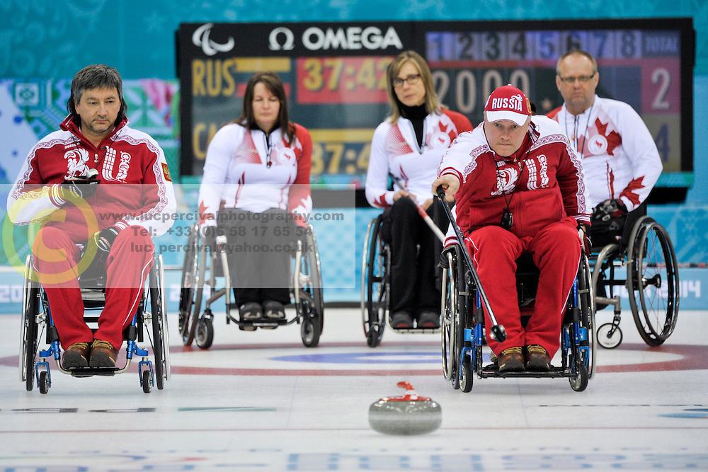 Marat Romanov, Alexander Shevchenko, Ina Forrest, Sonja Gaudet, Dennis Thiessen, Wheelchair Curling Finals at the 2014 Sochi Winter Paralympic Games, Russia