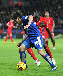 Mamadou Sakho of Liverpool (R) and Shinji Okazaki of Leicester City in action - Mandatory byline: Jack Phillips/JMP - 02/02/2016 - FOOTBALL - King Power Stadium - Leicester, England - Leicester City v Liverpool - Barclays Premier League