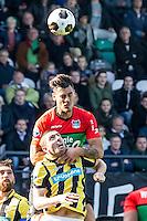 NIJMEGEN - NEC - Vitesse , Voetbal , Eredivisie , Seizoen 2016/2017 , Stadion de Goffert , 23-10-2016 , Vitesse speler Arnold Kruiswijk (onder) in duel met NEC Nijmegen speler Dario Dumic