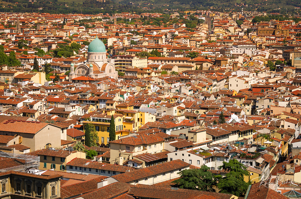 Red tile rooftops from Giotto's Bell Tower (Campanile di Giotto), Florence, Tuscany, Italy
