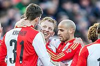 ROTTERDAM - Feyenoord - SC Cambuur , Voetbal , Seizoen 2015/2016 , Eredivisie , Feijenoord Stadion De Kuip , 06-03-2016 , Speler van Feyenoord Dirk Kuyt (m) is trots op man van de assist Speler van Feyenoord Michiel Kramer (l)